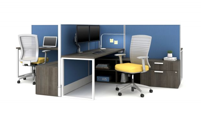 Divi Open Plan Panel system with Calibrate Storage and O-Leg Worksurface, shown with underworksurface power and Natick Seating