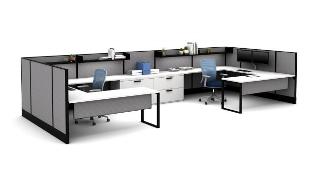 Divi Shared Office with O-Leg worksuraces, L Series steel storage and Natick Seating