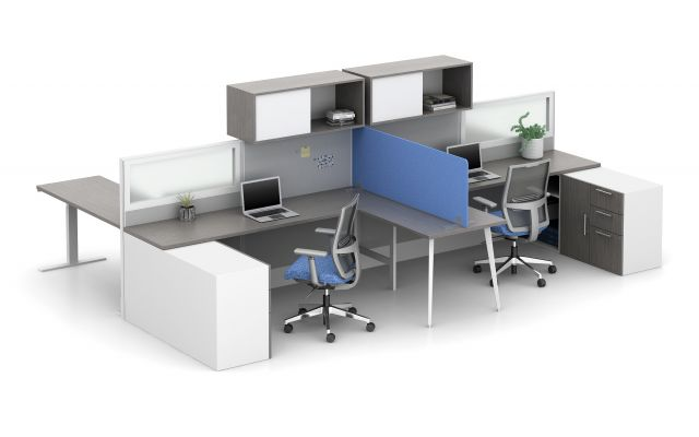 Divi with PET Freestanding Screen for division of shared workstation