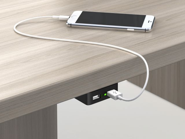 E-dock usb underworksurface power
