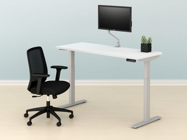 E Series Height Adjustable Table, Bolton Task Chair and Single Monitor Arm