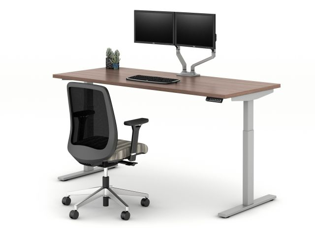 E Series Height Adjustable Table with Bolton Task Seating and Dual Monitor Arm