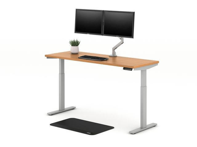 E Series Height Adjustable Table with Dual Monitor Arm for Shallow Depth Worksurfaces