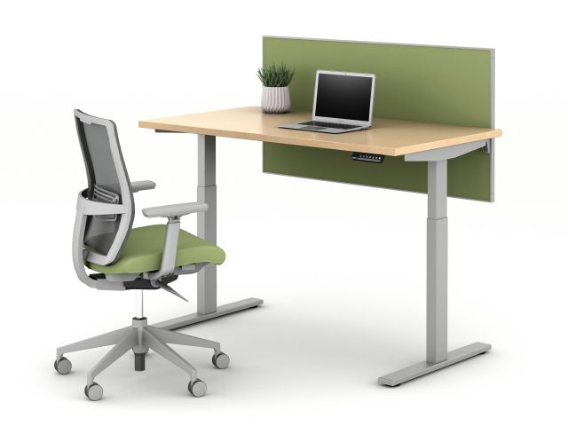 E Series Height Adjustable Table with Side Mount Screen and  Natick Task Seating