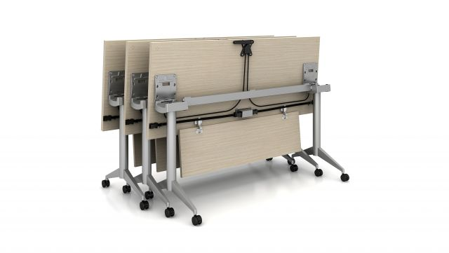 Day to Day Flip-Top Tables with T-legs and Casters featuring Power and Data Integration