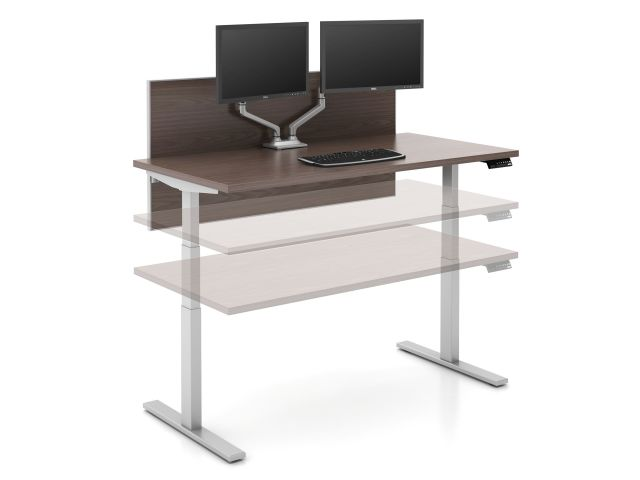 Day to Day Height Adjustable Table with Universal Screen and Dual Monitor Arms