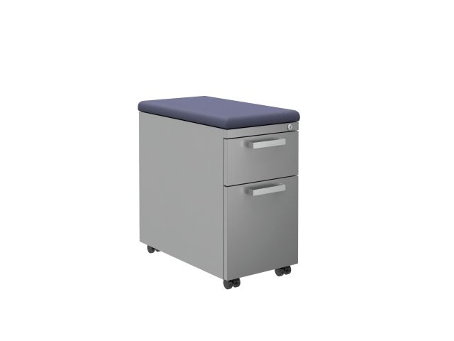 "L Series Steel Storage 12"" Pedestal with Cushion and Casters"