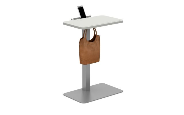 Laptop Table with Cloud top, Metallic Silver base, bag hook and cell phone shelf