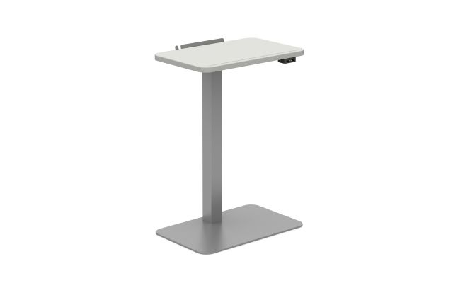 Powered Laptop Table with Cloud top and Metallic Silver base