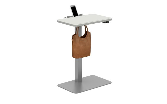 Powered Laptop Table with Cloud top, Metallic Silver base, bag hook and cell phone shelf