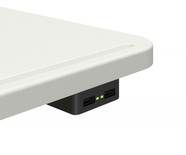 Laptop table in Cloud with E-120 undersurface USB power detail