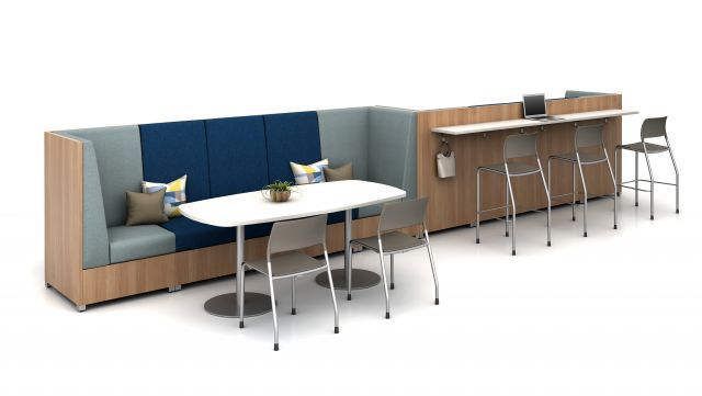 Day-to-Day Double Disc Base Pebble Top Table with LB Highback Lounge, LB Ledge and Pierce Seating