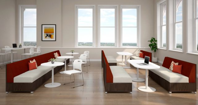 LB Lounge with Double and Single Disc Base Day-to-Day Table