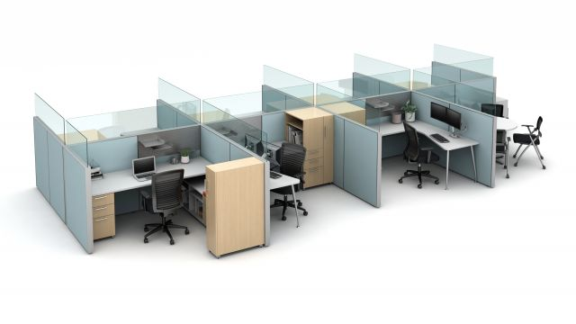 Matrix seven workstation pack with meeting area, with rail-mounted upmount glass