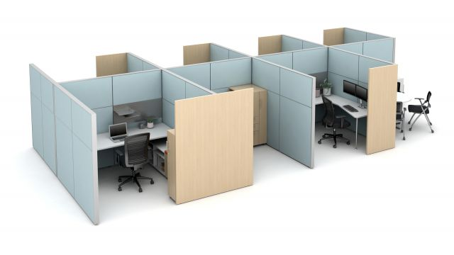"Matrix seven workstation pack with meeting area, 16"" Fabrics Stacks and Gallery panels for added privacy"