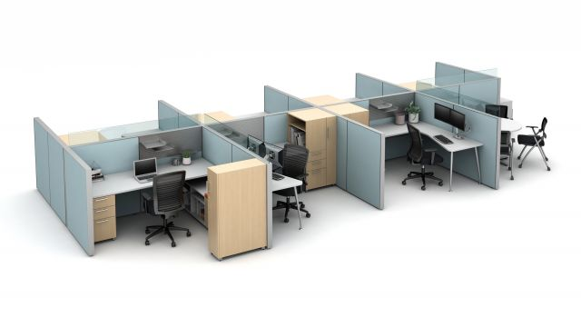 Matrix seven workstation pack with meeting area, upmount glass around the managers office and meeting space