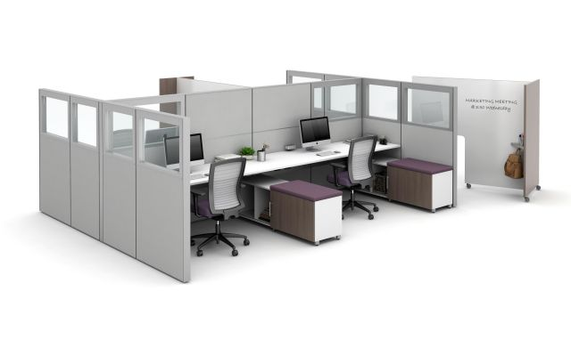 Matrix with Quarter Glass Panels, Tri-wheel Laminate Mobile Whiteboard to divide stations, and Calibrate Storage