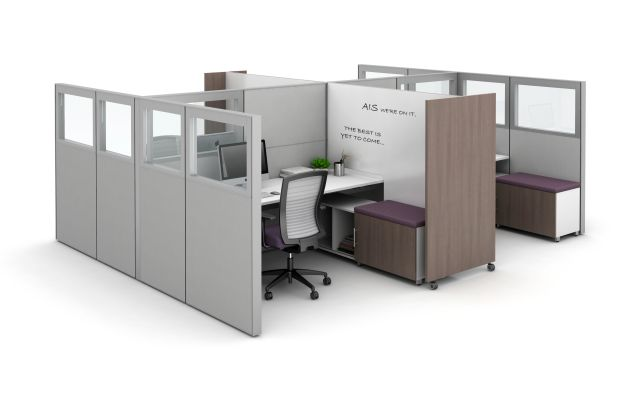 Matrix with Quarter Glass Panels, Tri-wheel Mobile Whiteboard to divide stations, and Calibrate Storage