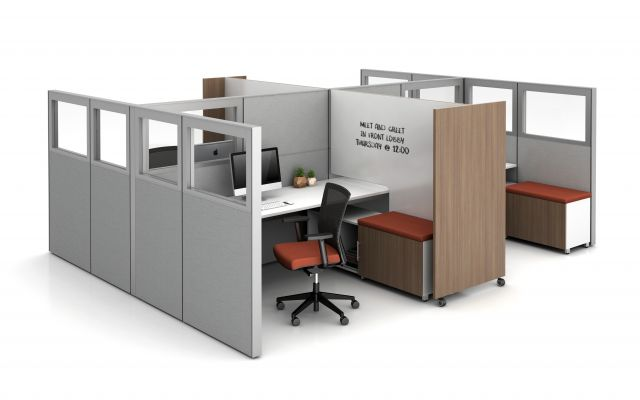 Matrix with Quarter Glass Panels, Tri-wheel Mobile Laminate Whiteboard/Divider with cut-out to divide stations, and Calibrate Storage