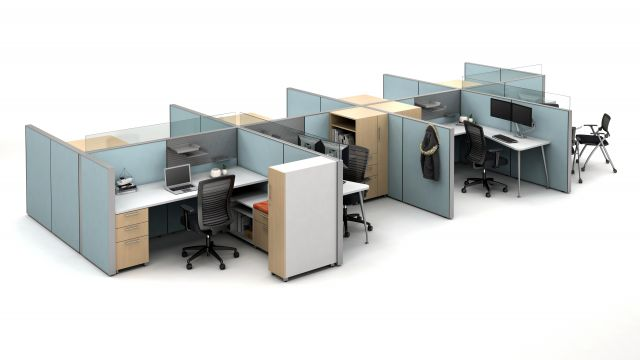 Matrix Open Plan Panel System with Calibrate storage, Natick Task Seating and Stow Side Seating