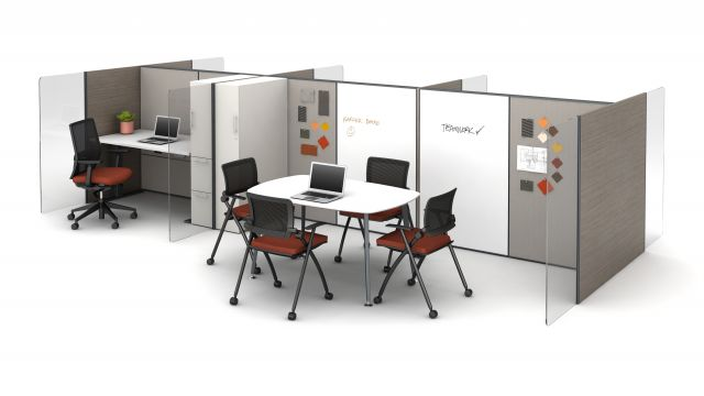 Matrix with Impromptu Meeting Space with White Board Panels and Horizontal Woodgrain Gallery Panels