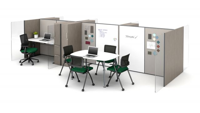 Matrix Impromptu Meeting Space with White Board Panels and Vertical Woodgrain Gallery Panels