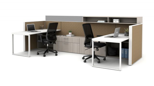 Matrix with O-Leg Worksurfaces, glass upmount screen and overhead bookcase