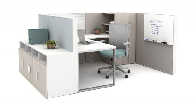 Matrix with O-Leg Worksurfaces, slat tile, markerboard, Calibrate storage and Natick Seating