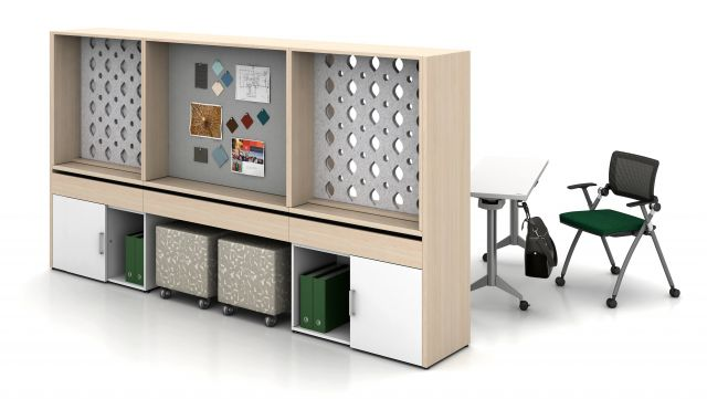 """Calibrate Community Workwall with Day-to-Day 18"""" Deep Flip top tables"""