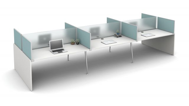 "Oxygen with 16"" Frosted Glass Spine Screens and 16"" Slimline Fabric Surface Mount Territory Screens"