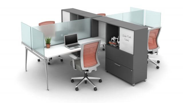 Oxygen Benching Application with Desk Hutch and Calibrate Bookcase and Storage for added division of space