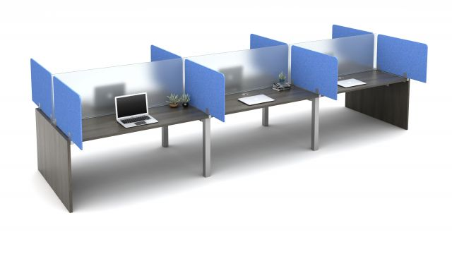 "Oxygen with square post legs and PET Territory Screens Specified to Extend 12"" beyond the worksurface and Lexan Spine Screens"