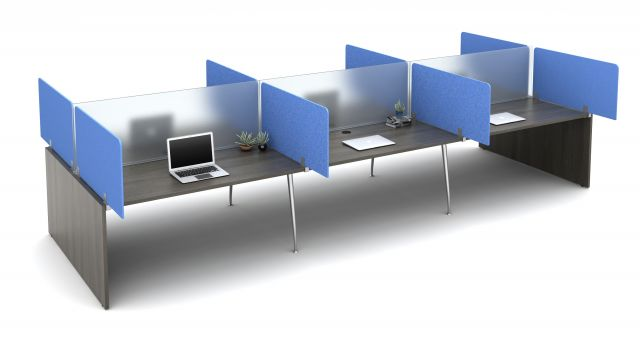 "Oxygen with PET Territory Screens Specified to Extend 12"" beyond the worksurface and Lexan Spine Screens"