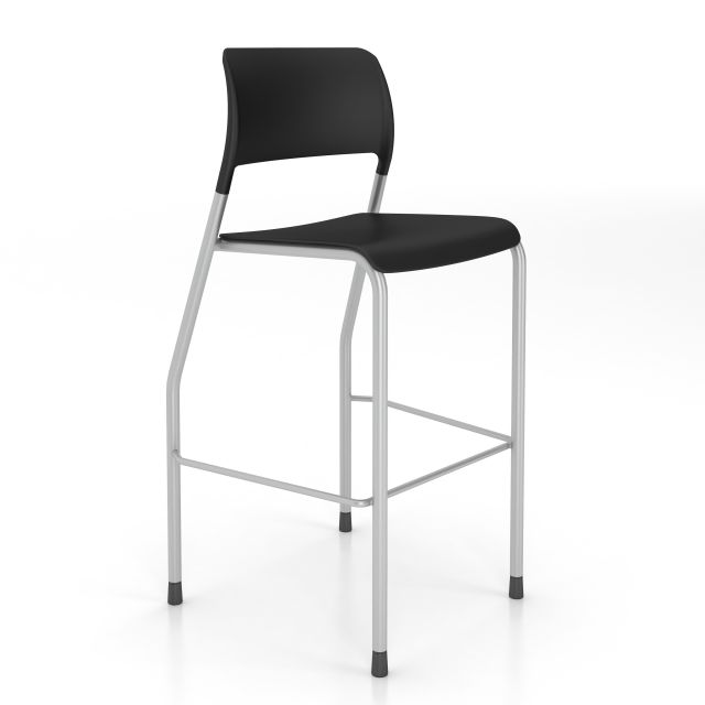 Pierce Stool with Glides, in black