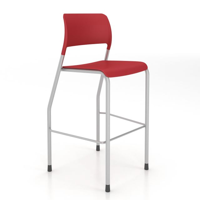 Pierce Stool with Glides in Red