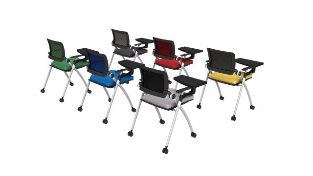 Stow Multipurpose Seating with Tablets up and Casters