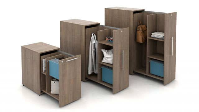 "Calibrate Pantry Pull-out Storage shown in all sizes: 27"", 42"" and 50"", open"