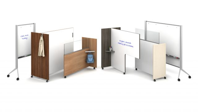 Tri-Wheel Mobile Divider Family with Whiteboards