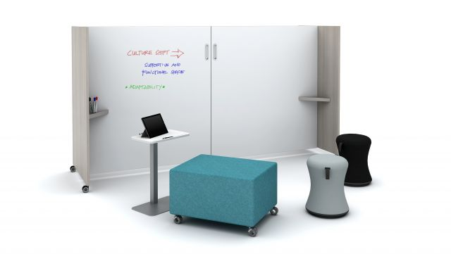 Tri-Wheel Mobile Laminate Whiteboard/Divider with Laptop Table, LB Ottoman and Sulli
