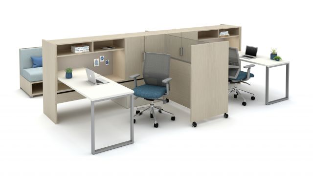 Calibrate Community with O-Leg Worksurfaces and Tri-Wheel Mobile Laminate Divider with Lexan Screen and Devens