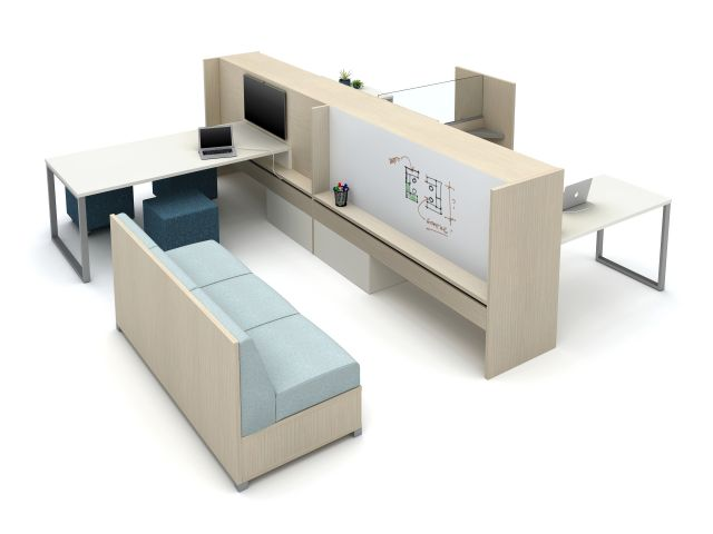 Calibrate Community with O-Leg Worksurfaces, LB Lounge, Volker Cube, and Tri-Wheel Mobile Laminate Divider with Lexan Screen