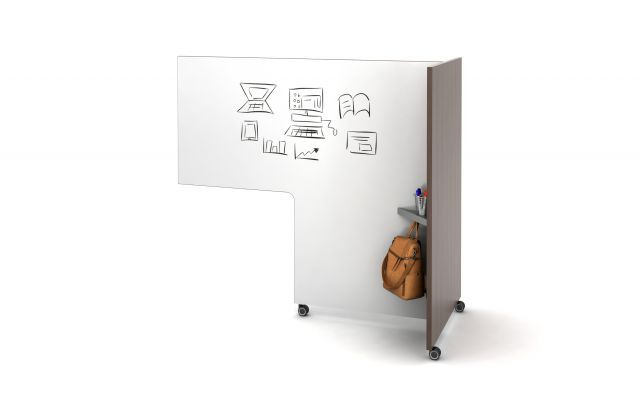 Tri-Wheel Laminate Mobile Whiteboard/Divider with cut-out for worksurface nesting