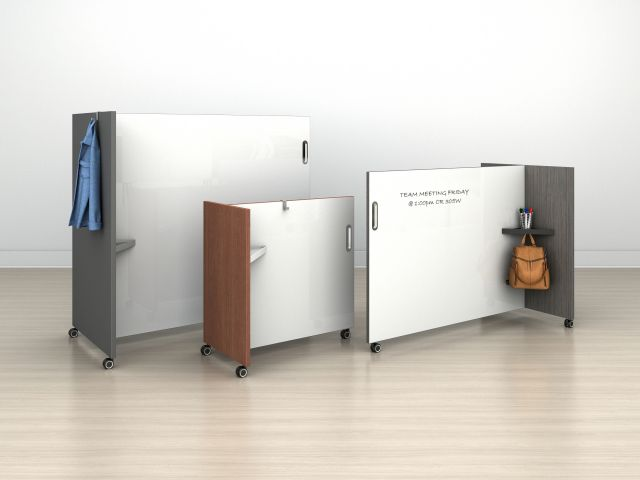 Tri-Wheel Laminate Mobile Whiteboard/Divider