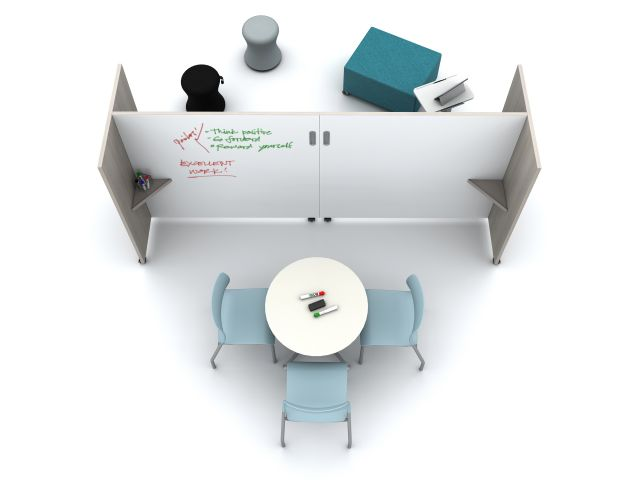Tri-Wheel Mobile Laminate Whiteboard/Divider with Laptop Table, LB Ottoman, Sulli, Day-to-Day Table and Pierce seating