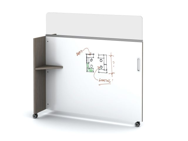 Tri-Wheel Laminate Mobile Whiteboard/Divider with Lexan Channel Screen