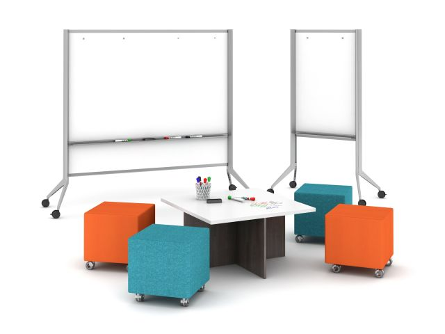 Universal Whiteboards in two sizes with Volker Seating and Nesting table