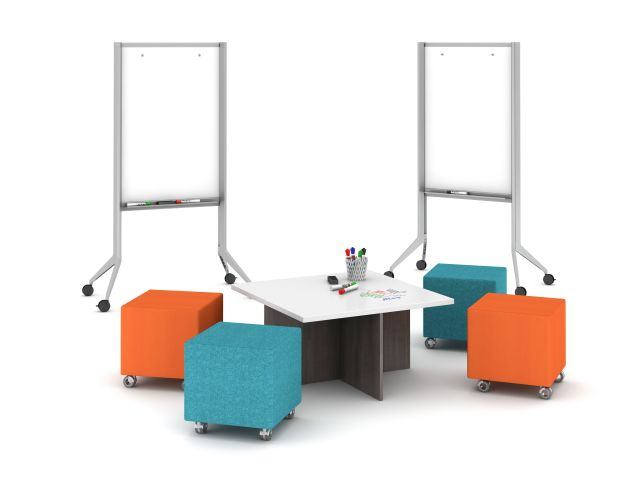 Universal  Whiteboards with Volker cubes and nesting table