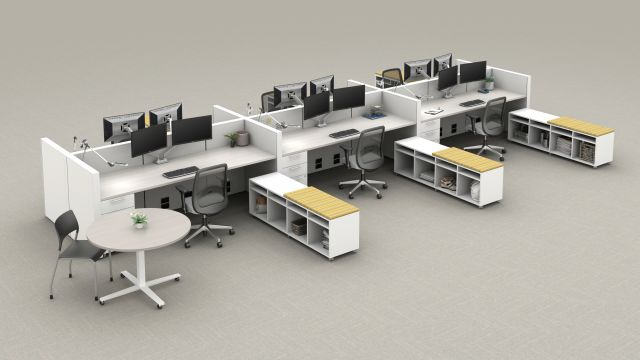 Matrix Open Plan with Calibrate Series Storage, Day to Day Table, Bolton Task Seating and Pierce Side Seating