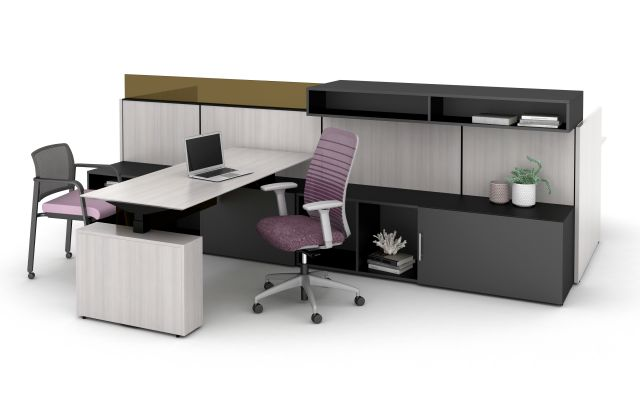 Matrix Spine Open Plan Panel System with Height Adjustable Calibrate Series Desking and Storage, Upmount Overheads and Glass, and Bolton and Paxton Seating.