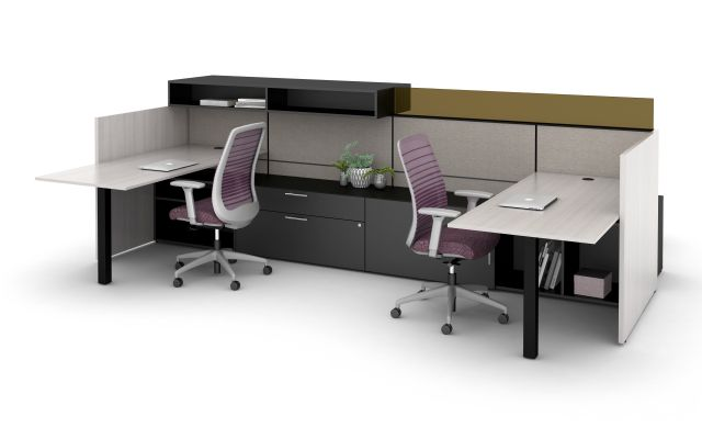 Matrix Spine Open Plan Panel System with Upmount Glass Screen and Overhead Storage. Shown with Full Modesty Panel, Bolton Task Seating and Calibrate Storage